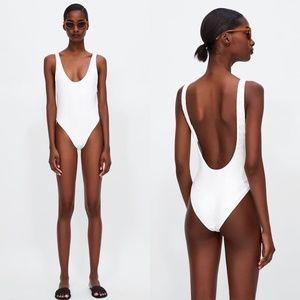 Zara Sequin Scoop Back Shimmer Swimsuit 1 Peice